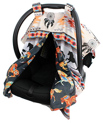 Dear Baby Gear Deluxe Reversible Car Seat Canopy, Custom Minky Print, Southwestern Tribal Horses (Accessories Horse Rocking)