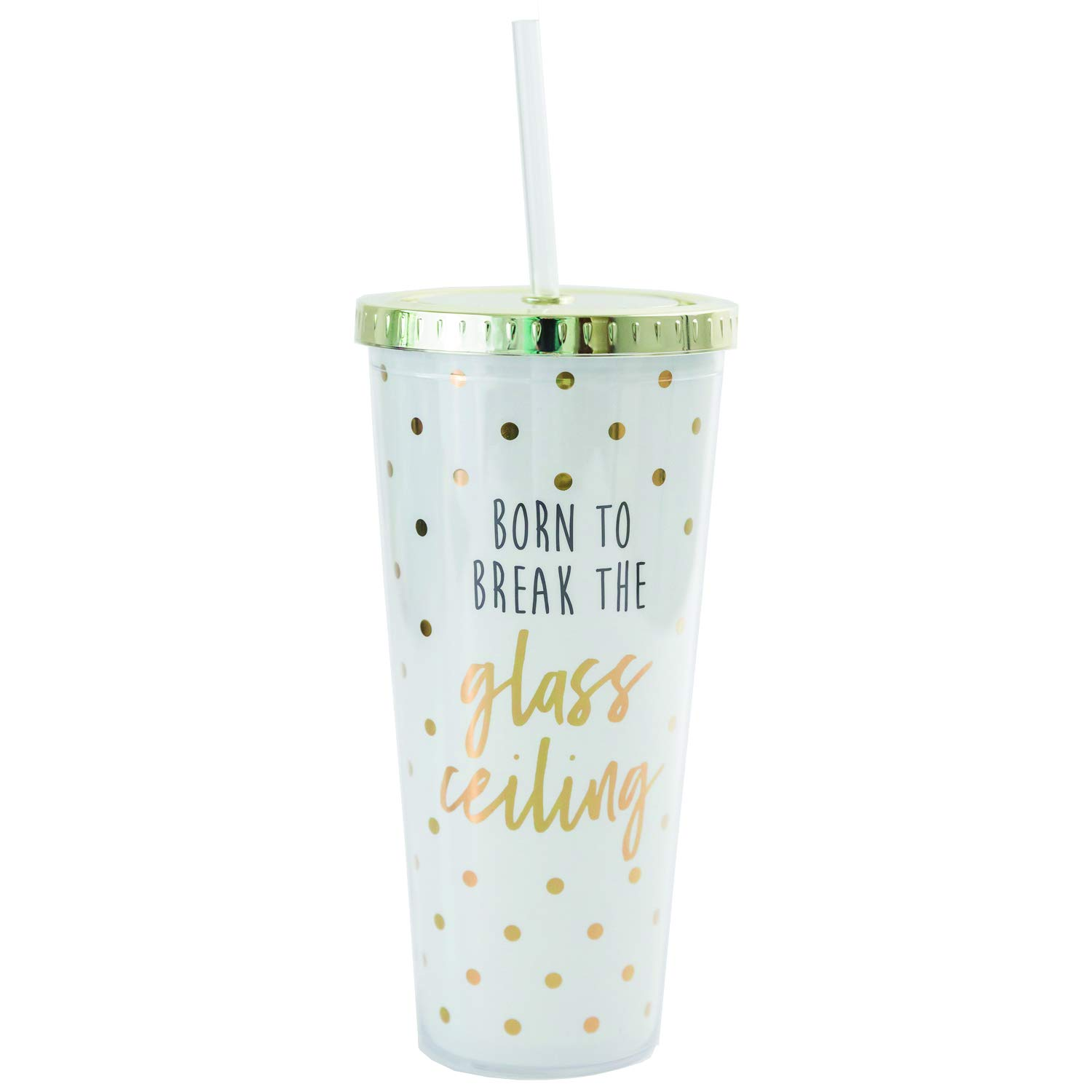 Mary Square 24777 Glass Ceiling Straw Tumbler 24 oz White with Gold polka dots