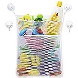 #10: Bath Toy Organizer - Baby Toy Storage Mesh Bag + 4 Strong Suction Cups,Bath Tub Toy Storage Mesh Bag Tidy Suction Net.