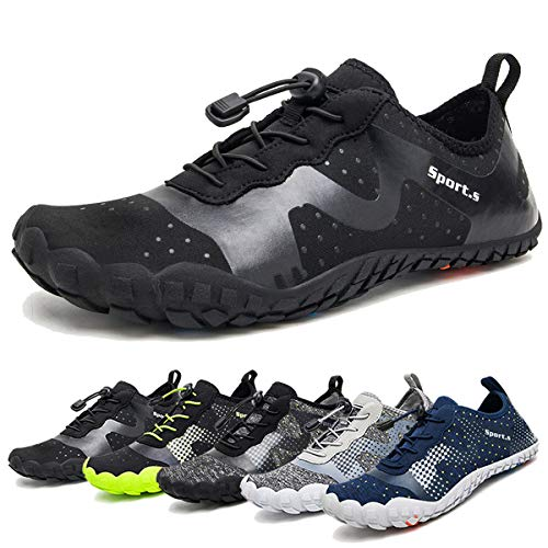 Water Shoes for Men Quick-Dry Aqua Sock Outdoor Athletic Sport Shoes for Kayaking,Boating,Hiking,Surfing,Walking (A-Pure Black, ()