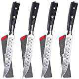 KYOKU 5'' Steak Knives Set of 4 with Sheath & Case - Full Tang - German HC Steel - Pakkawood Handle with Mosaic Pin - SILVER Series