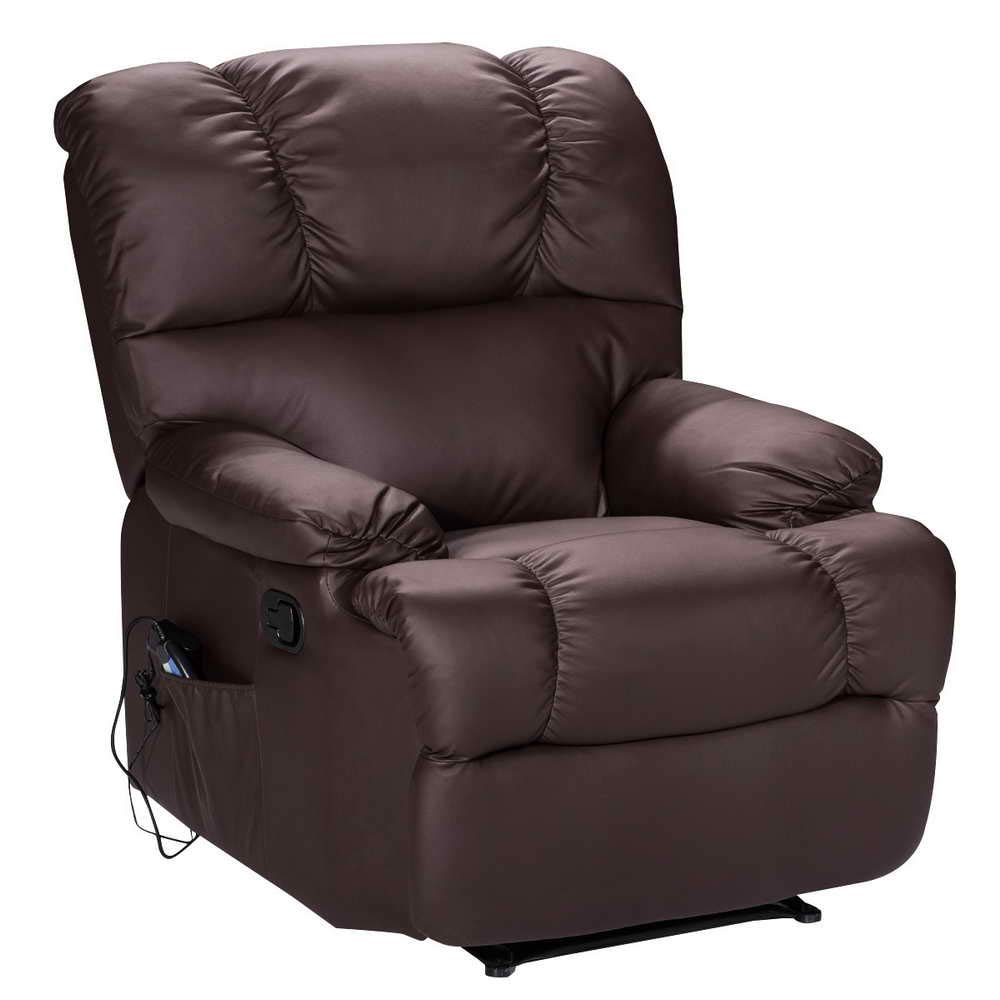 Massage Recliner Chair with Heat and Vibrating, WATERJOY Full Body Leather Massage Chair with Control Black Sofa Chair Recliner for Living Room (Brown)