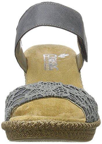 Denim Rieker Sandalias de Jeans Mujer 14 Azul 66561 Tacón AaAwnYCrq