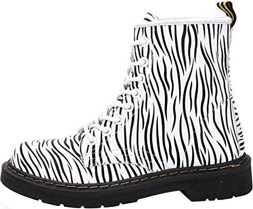 Damen Mädchen Stiefel Schnürstiefel Winterstiefel gefüttert Stiefeletten Wasserdicht PU Leder Boots Schuhe Muster Print Weiß(Zebra)-Ungefüttert
