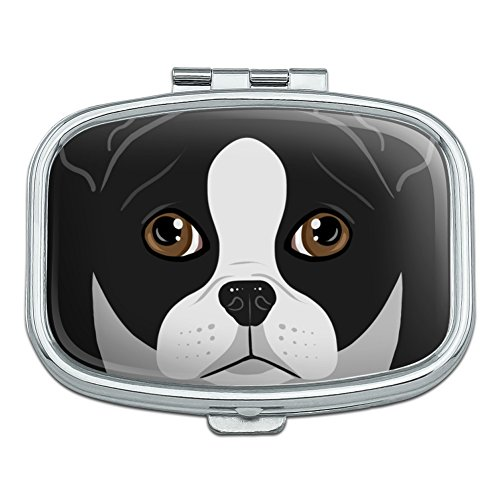 Boston Terrier Look Into My Eyes Face Pet Dog Rectangle Pill Case Trinket Gift ()