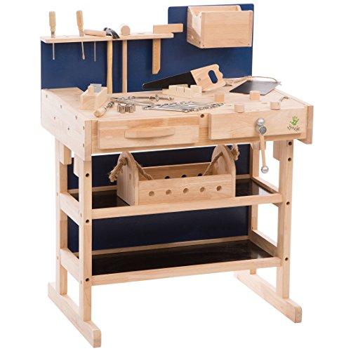 Ultrakidz Kinder-Werkbank aus Massivholz mit Werkzeug-Set und Werkzeugkiste