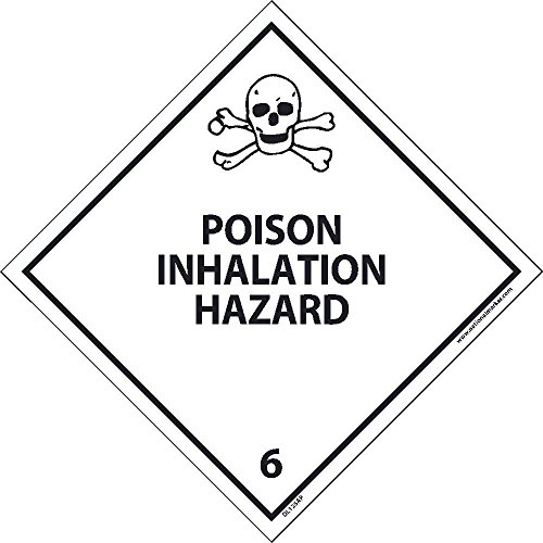 DL125ALV National Marker Dot Shipping Label, Poison Inhalation Hazard 6, 4 Inches x 4 Inches, Ps Vinyl, 500/Roll