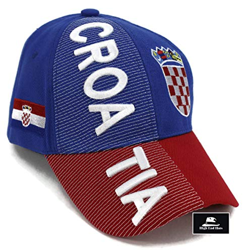 "ions of Europe Hat Collection"" Embroidered Adjustable Baseball Cap, Croatia with Coat of Arms, Blue ()"