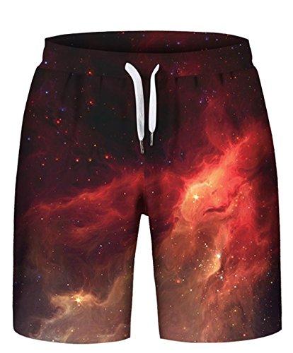 Set Polyester Unisex Vest - HOP FASHION Unisex Galaxy Print Drawstring Shorts Summer Beach Baskestball Pants HOPM087-15-S-M