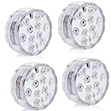 Aurora Floating Pool Lights with 4pcs 10-LED Waterproof RGB Submersible Lights Remote Controlled with 4 Suction Cups Idea for Bathtub or Spa Aquarium Vase Base Pool Light Christmas Wedding Party