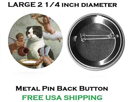 B111 Cute Cat Angels Cherubs Large Metal 2 1/4 inch Pin Back Button