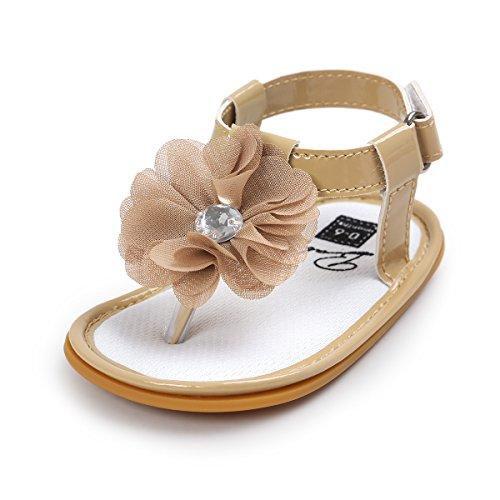 [QGAKAGO Baby Girls Rhinestone Flower Thongs Sandals T-Strap Non-slip Infant Toddler Buckle Flats Sandals (S: 4.25 inch(0~6 months), Khaki)] (Buckle Khaki)