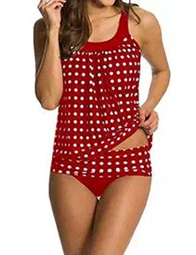 Mujeres de dos piezas traje de baño Tankini traje de baño de sistemas superior + inferior Red L