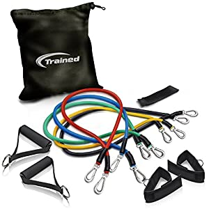 RESISTANCE BAND Set By Trained with Door Anchor, Ebook Workout Routines Delivered By Email, Ankle Strap, Exercise Chart,Great For Crossfit, Men and Women, Comes With Carrying Bag.