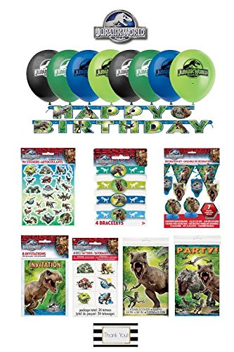 Jurassic World 150 Piece Decorating & Party Kit - 8 Balloons - 4 Bracelets - 8 Invitations - Door Poster - 6ft Banner - Decorating Kit - Stickers & - Parks World Four