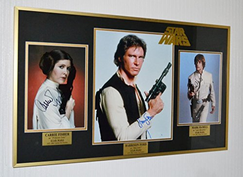 "Signed HARRISON FORD, CARRIE FISHER, MARK HAMILL ""Star Wars"" Frame, DVD, COA"