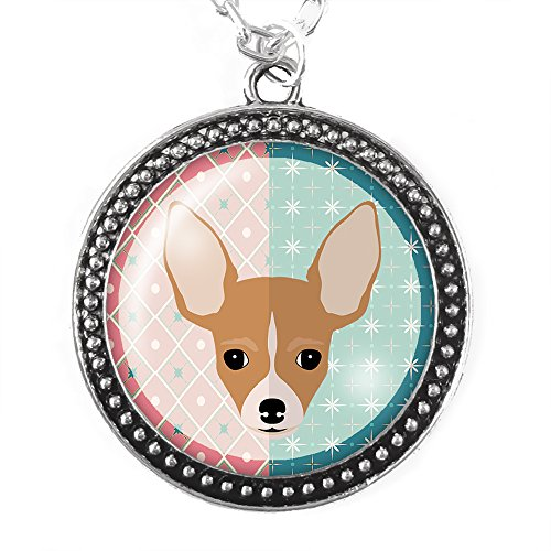 Cute Chihuahua Silver Pendant Necklace ()