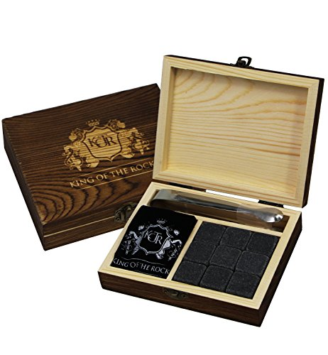 King Of The Rocks Exclusive Whiskey Stones Set of 9 Chilling Rocks for Whiskey and Other Beverages | Comes in an Engraved Luxury Wooden Gift Box with Velvet Bag and -