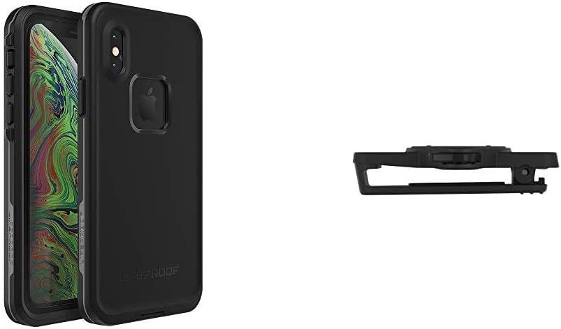 Lifeproof FRÄ' Series Waterproof Case for iPhone Xs - Retail Packaging - Asphalt (Black/Dark Grey) Bundle with LIFEACTIV Belt Clip with QUICKMOUNT