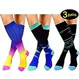 Compression Socks For Women&Men 20-25mmHg - Best for Running,Travel,Cycling,Pregnant (Small/Medium, B -Multicolour 2)
