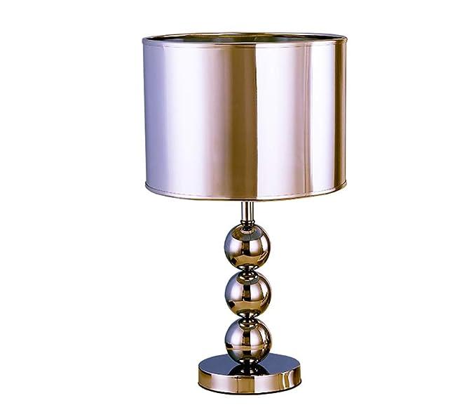 Lámpara De Mesa Decorativa Plateada, Lámpara De Mesita De ...