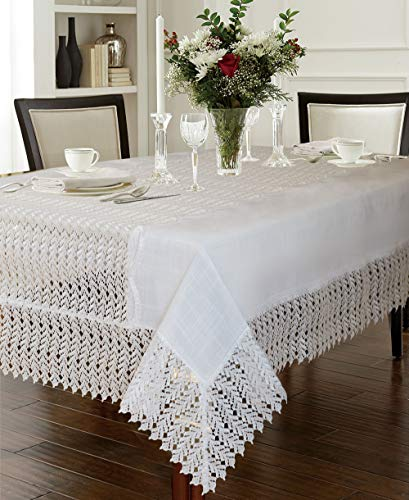 - Violet Linen Lisbon Modern Embroidered Runner Design, Macrame Lace Border Seats 12 to 14 Pepole, Rectangle, Tablecloth 70