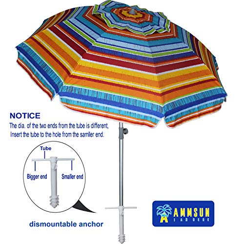 AMMSUN 7 ft Sand Anchor Beach Umbrella Adjustable Height with Tilt Aluminum Pole, Portable UV 50+ Protection Beach Umbrella for Outdoor Patio