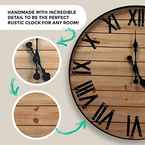 24 inch Rustic Wall Clock | Handmade Large Clock | Real Wood Clock, Beautiful Decorative Wall Clock Large | Oversized… 5