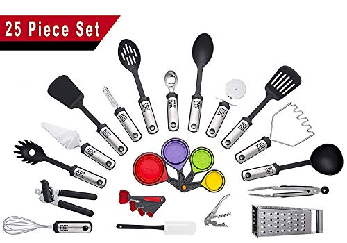 Kitchen Utensils - 25 Piece Cooking Utensils - Nonstick Utensil set - Silicone and Stainless Steel Kit - For Pots and Pans - Safe For All Cookware - BPA Free - Dishwasher Safe Kitchen Tools