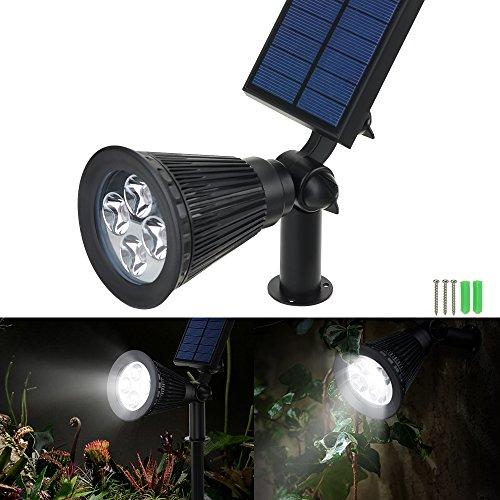 VicTsing 4 Pack Solar Spotlights,2-in-1 Waterproof Adjustable 4 LED Wall / Landscape Solar ...