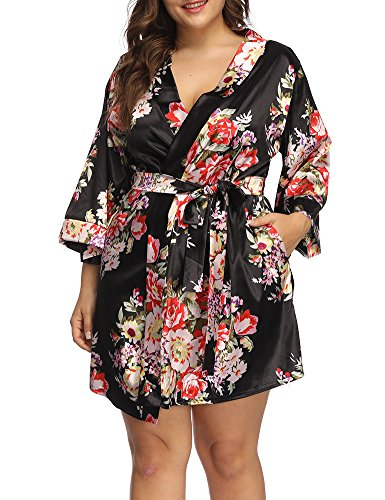 2x Robe - Allegrace Women's Plus Size Floral Print Wrap Front Satin Kimono Robes Sexy Nights Short Pajamas Black 3X