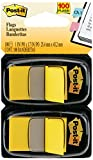 Post-it Flags Value Pack, Yellow, 1 in. Wide, 50/Dispenser, 100 Flags (680-YW12)
