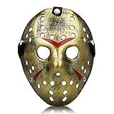 Kston Novelty Halloween Mask Creepy Costume Party Hockey Jason VS Freddy Mask Prop (Bronze Gold)