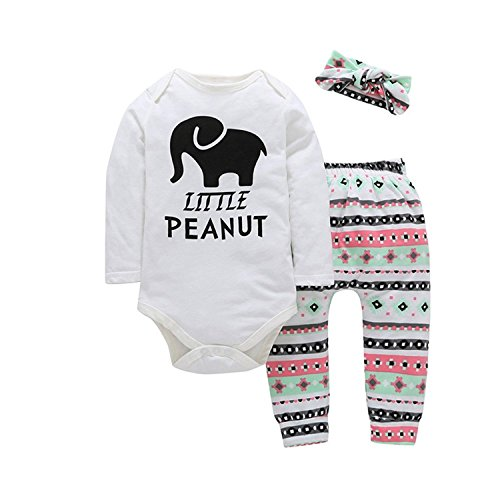 3pcs Infant Baby Girls Elephant Print Romper Bodysuit+Floral Pants Legging Outfits Set,3-6 Months,White - Little Peanut