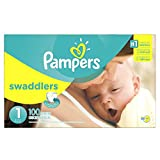 Health & Personal Care : Pampers Swaddlers Disposable Diapers Newborn Size 1 (8-14 lb), 100 Count, SUPER