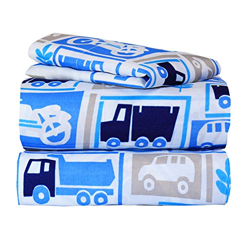 Dor Extreme Super Soft Luxury Twin Cars Bed Sheet Set in 8 Different Prints, Galore, 3 (Super Vehicle Set)