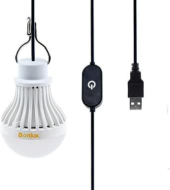 Bonlux Alimentado de 5V USB bombilla LED regulable 5W luz 6000K Portable USB lámpara de LED con atenuador táctil para Camping Senderismo Pesca alumbrado de lectura
