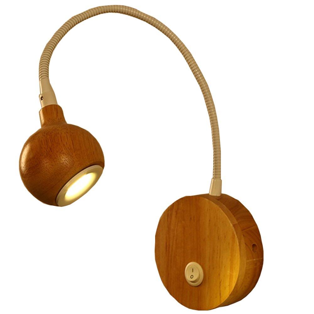 Escandinavo creativo llevó gooseneck lámpara de pared de madera maciza estudio de madera sala de lectura lámpara de cabecera dormitorio pasillo simple moderno moderno brazo flexible luz de pared ( Diseño : 1 ) dongdong