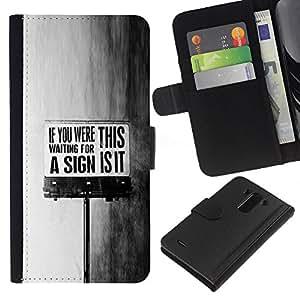 BearCase / Cuero de la tarjeta la carpeta del tirón Smartphone Slots Protección Holder /// LG G3 /// This Is It sesión Negro Mensaje Texto blanco
