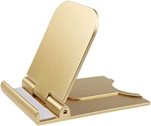 Adjustable Cell Phone Stand Holder,Mobile Phone Dock Cradle Compatible for iPhone Xs Max XR 8 Plus 6 7 6S, Samsung Galaxy S10 S9 S8 S7 Edge S6,Foldable Desktop Android Smartphone Holder,Gold