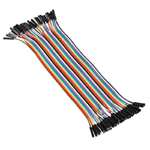 New 40PCS 20cm Female to Female 2.54mm 0.1 Inch Jumper Cable Wires Connector F/F