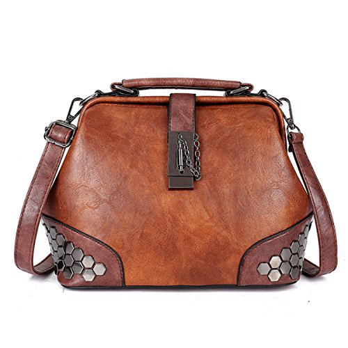 Rivets Buckle Bag Ladies Handbags Messenger Bags Brown Package Large Capacity