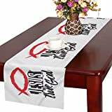 InterestPrint Christian Fish with Bible Lettering Jesus Is the True God Table Runner Cotton Linen Home Decor for Wedding Party Banquet Decoration 16 x 72 Inches