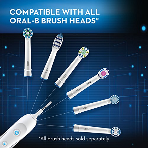Oral-B 7000 SmartSeries Rechargeable Power Electric Toothbrush with 3 Replacement Brush Heads, Bluetooth Connectivity and Travel Case, White, Powered