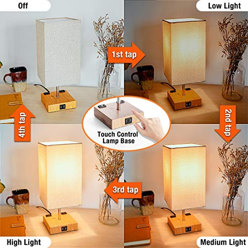 3-Way Touch Control Dimmable Table Lamp Modern Bedside ...