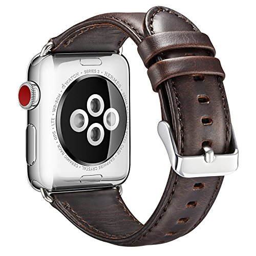 For Apple Watch Band 42MM, OROBAY Genuine Leather iWatch Strap Replacement Wristband with Secure Stainless Matel Buckle for Apple Watch Series 3, Series 2, Series 1, Sport, - Name Serial Colours All Of