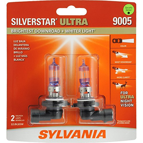 (SYLVANIA - 9005 SilverStar Ultra - High Performance Halogen Headlight Bulb, High Beam, Low Beam and Fog Replacement Bulb, Brightest Downroad with Whiter Light, Tri-Band Technology (Contains 2 Bulbs))