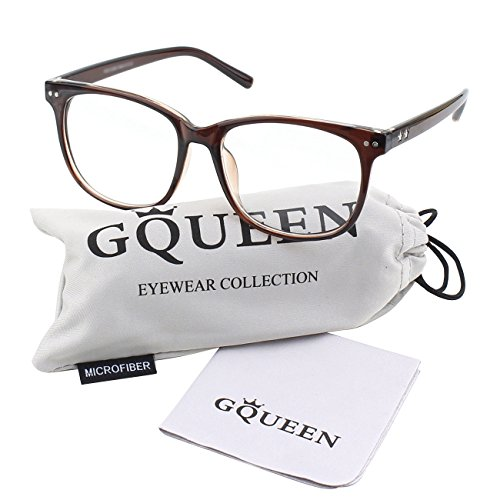 GQUEEN 201581 Large Oversized Frame Horn Rimmed Clear Lens - Rimmed Brown Glasses