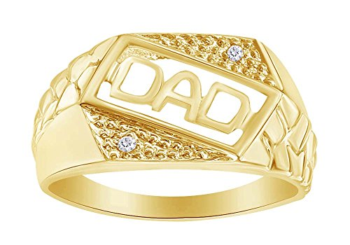 Men's Diamond Accent DAD Slant Nugget Ring in 10K Yellow Sold Gold For Father's Day - Diamond Accent Dad Ring