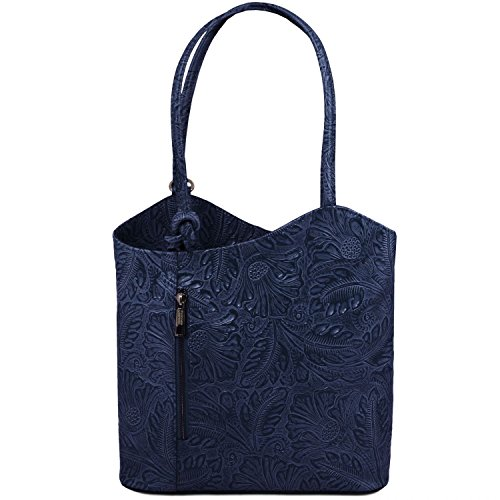 A Zaino Blu Convertibile In Borsa Floreale Stampa Donna rosso Tuscany Scuro Patty Pelle Tl141676 Leather WRnq1wXS
